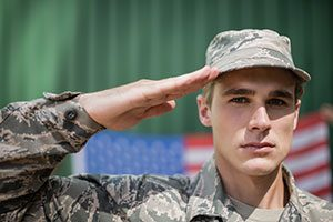 Military soldier serving
