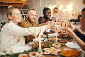 A holiday gather hosted by a person who just got divorced